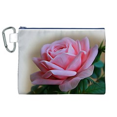 Rose Pink Flowers Pink Saturday Canvas Cosmetic Bag (xl)