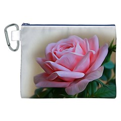 Rose Pink Flowers Pink Saturday Canvas Cosmetic Bag (xxl)