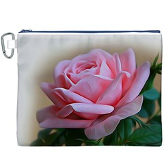 Rose Pink Flowers Pink Saturday Canvas Cosmetic Bag (xxxl)