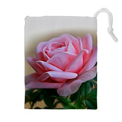 Rose Pink Flowers Pink Saturday Drawstring Pouches (extra Large)
