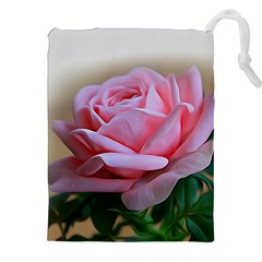 Rose Pink Flowers Pink Saturday Drawstring Pouches (xxl)
