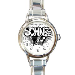Snow Removal Winter Word Round Italian Charm Watch