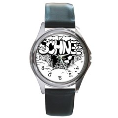 Snow Removal Winter Word Round Metal Watch