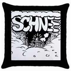 Snow Removal Winter Word Throw Pillow Case (black)