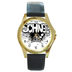 Snow Removal Winter Word Round Gold Metal Watch