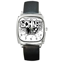 Snow Removal Winter Word Square Metal Watch