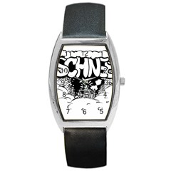 Snow Removal Winter Word Barrel Style Metal Watch