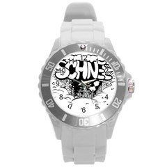 Snow Removal Winter Word Round Plastic Sport Watch (l)