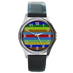 Pattern Background Round Metal Watch