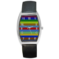 Pattern Background Barrel Style Metal Watch