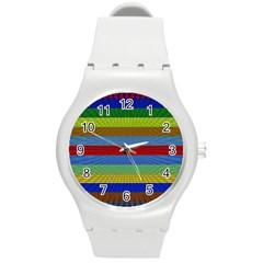 Pattern Background Round Plastic Sport Watch (m)