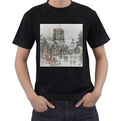 Santa Claus Nicholas Men s T Shirt (black) (two Sided)