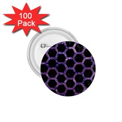 Hexagon2 Black Marble & Purple Marble 1 75  Button (100 Pack)