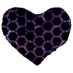 HEXAGON2 BLACK MARBLE & PURPLE MARBLE Large 19  Premium Flano Heart Shape Cushion Front
