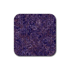 Hexagon1 Black Marble & Purple Marble (r) Rubber Square Coaster (4 Pack)
