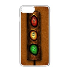 Traffic Light Green Red Yellow Apple Iphone 7 Plus White Seamless Case