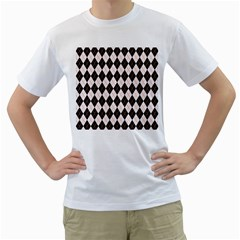 Tumblr Static Argyle Pattern Gray Brown Men s T Shirt (white)