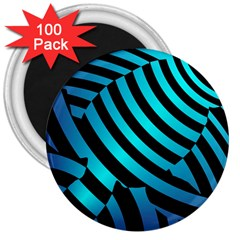 Turtle Swimming Black Blue Sea 3  Magnets (100 pack)
