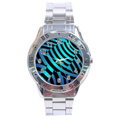 Turtle Swimming Black Blue Sea Stainless Steel Analogue Watch