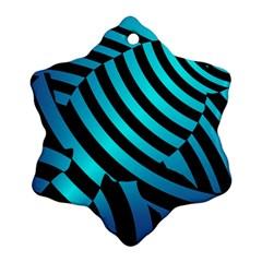 Turtle Swimming Black Blue Sea Ornament (Snowflake)