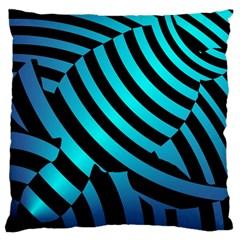 Turtle Swimming Black Blue Sea Large Cushion Case (Two Sides)