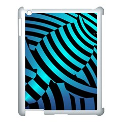Turtle Swimming Black Blue Sea Apple iPad 3/4 Case (White)