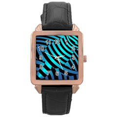 Turtle Swimming Black Blue Sea Rose Gold Leather Watch