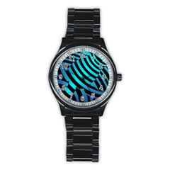 Turtle Swimming Black Blue Sea Stainless Steel Round Watch