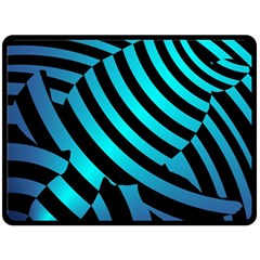 Turtle Swimming Black Blue Sea Double Sided Fleece Blanket (Large)