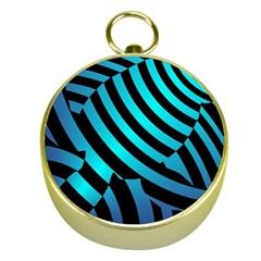 Turtle Swimming Black Blue Sea Gold Compasses