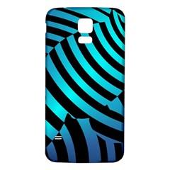 Turtle Swimming Black Blue Sea Samsung Galaxy S5 Back Case (White)