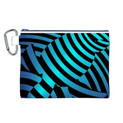 Turtle Swimming Black Blue Sea Canvas Cosmetic Bag (L)