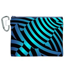 Turtle Swimming Black Blue Sea Canvas Cosmetic Bag (XL)