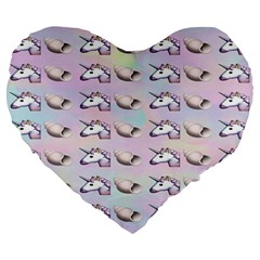 Tumblr Unicorns Large 19  Premium Flano Heart Shape Cushions