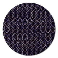 Hexagon1 Black Marble & Purple Marble Magnet 5  (round)