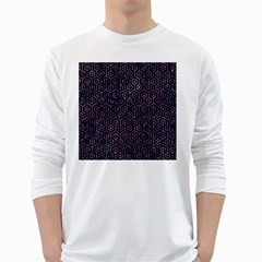 Hexagon1 Black Marble & Purple Marble Long Sleeve T Shirt