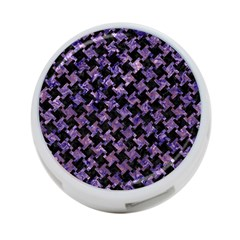 Houndstooth2 Black Marble & Purple Marble 4 Port Usb Hub (two Sides)