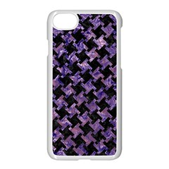 Houndstooth2 Black Marble & Purple Marble Apple Iphone 7 Seamless Case (white)