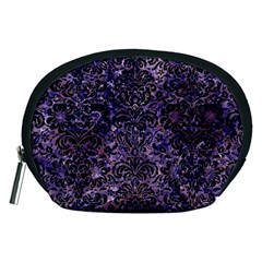 Damask2 Black Marble & Purple Marble (r) Accessory Pouch (medium)