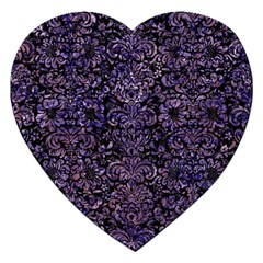 Damask2 Black Marble & Purple Marble Jigsaw Puzzle (heart)