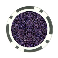 Damask2 Black Marble & Purple Marble Poker Chip Card Guard (10 Pack)