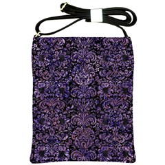 Damask2 Black Marble & Purple Marble Shoulder Sling Bag