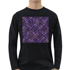 Damask1 Black Marble & Purple Marble (r) Long Sleeve Dark T Shirt