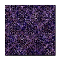 Damask1 Black Marble & Purple Marble (r) Face Towel