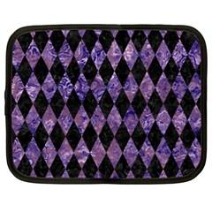 Diamond1 Black Marble & Purple Marble Netbook Case (xl)