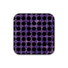 Circles1 Black Marble & Purple Marble (r) Rubber Square Coaster (4 Pack)