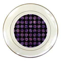 Circles1 Black Marble & Purple Marble Porcelain Plate