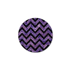 Chevron9 Black Marble & Purple Marble (r) Golf Ball Marker (4 Pack)