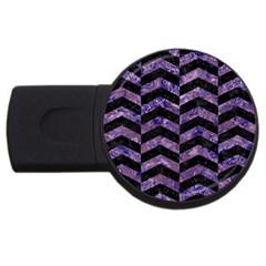 Chevron2 Black Marble & Purple Marble Usb Flash Drive Round (2 Gb)