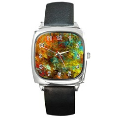 Mixed Abstract Square Metal Watch
